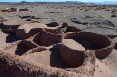 The tops of the walls of the Atacameños' huts. The round spaces were for living; the rectangular ones in between were for corn storage. You can actually see some 2500-year-old dried corn within the sand filled bins.