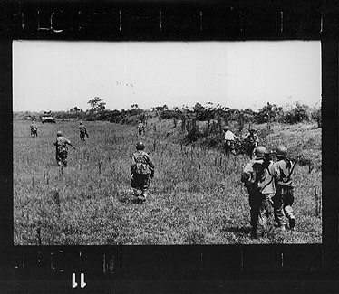 Robert Capa's last frame, taken just before he stepped on a land mine.