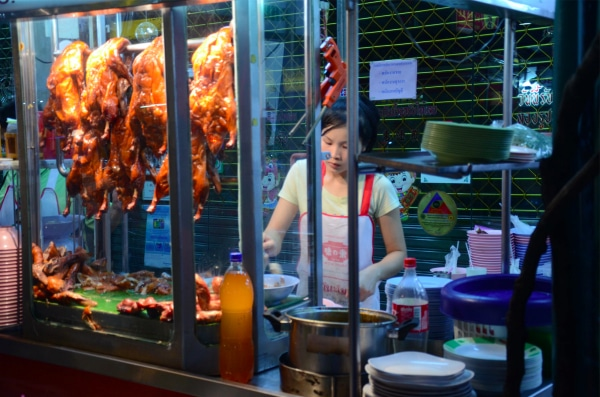 Roast duck at a street food stall in Chinatown, Bangkok