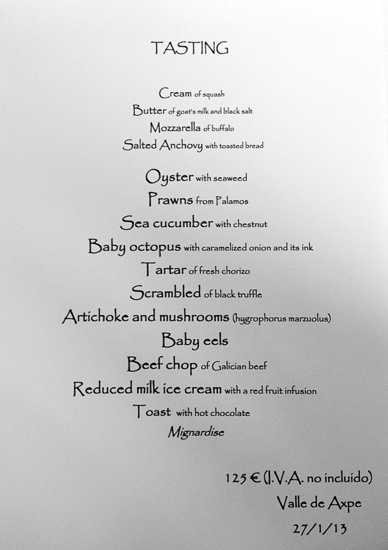Asador Etxebarri, The Tasting Menu, English version.