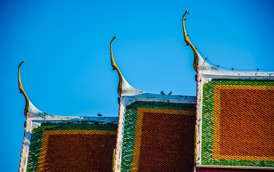 temple roof wat pho bangkok