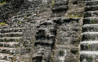 Mayan Masks Lamanai Temple Belize