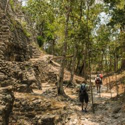 reaching base of big pyramid el mirador