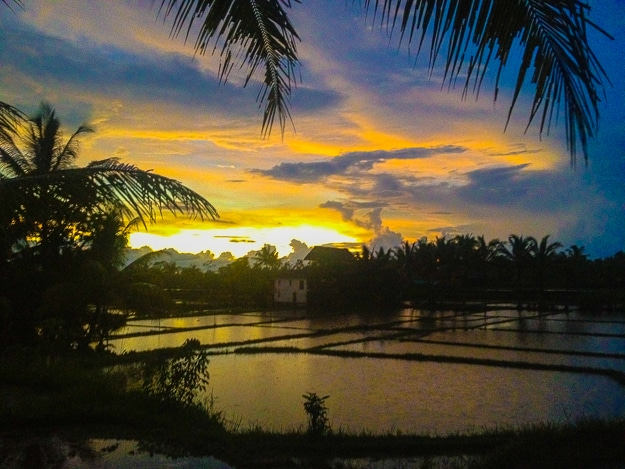 Sunset over a flooded rice field outside Ubud, Bali