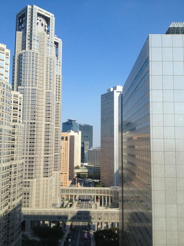View of the Tokyo Government Center (L) from Shinjuku Washington Hotel