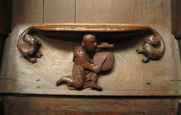 More than 50 of these misercord carvings are found un the underside of tip-up choir seats.