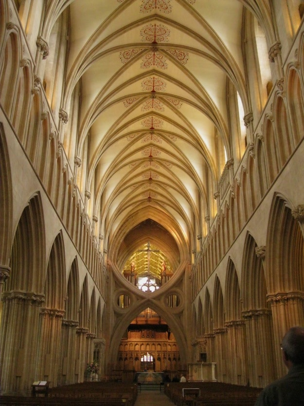 The scissors arch puts a sharp focus on the nave at Wells Cathedral