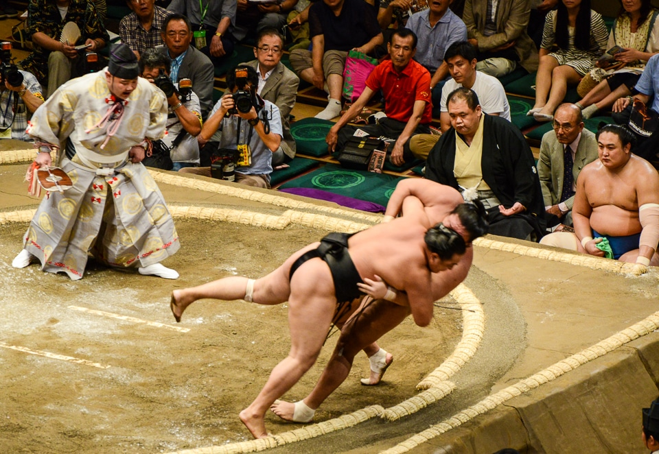 Japan sumo wrestling the fall