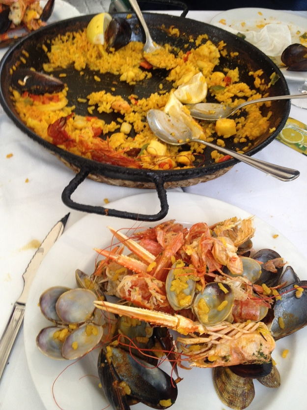 The detritus of our Sunday paella feast in Barcelona