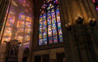 sunlight stained glass St. Vitus Prague