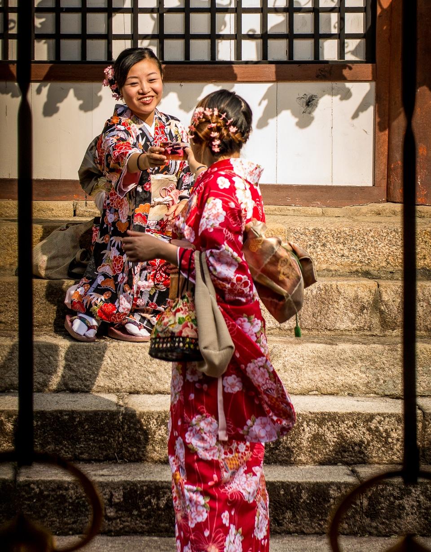 women taking picture Nara
