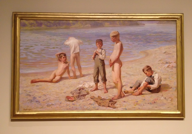 """A sight for cold eyes, 'Boys Bathing"""" along the Mississippi River"""