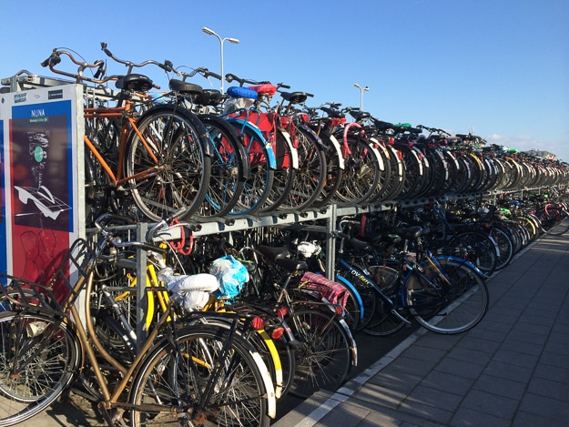 Bicycle parking near the train station at The Hague