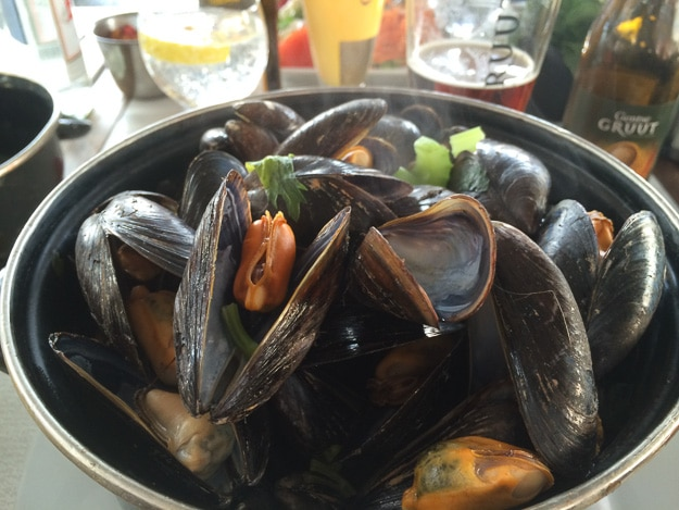 You might call this the national dish of Belgium, Moule Frites, mussels with French fries.