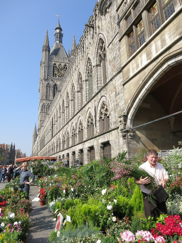 Ypres' early spring flower market, in front of In Flanders Fields Museum.