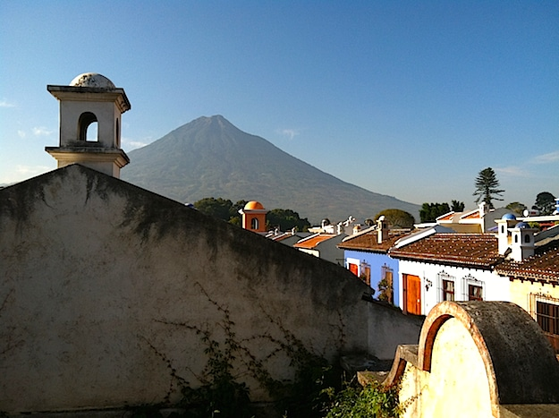 View of Volcano from Antigua Rooftop