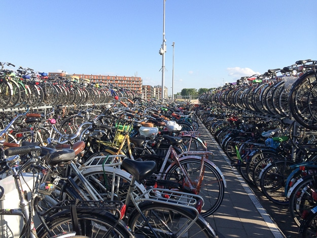 Bicycle parking in Delft.