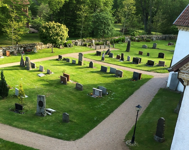 View of the Brönnestad cemetery from the church bell tower