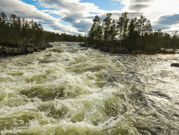 Wild rivers and lakes cover half of Finland.