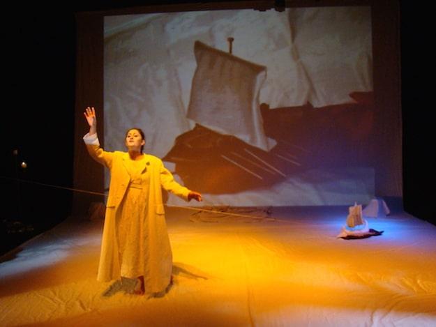 Srims, shadow-play, and puppetry are among the devices that expand the stage in this adaptation of several Greek dramas.