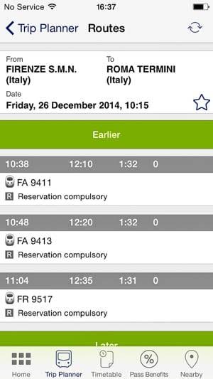 Eurail Pass app