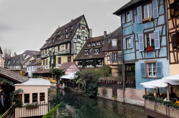 colorful canal front colmar france