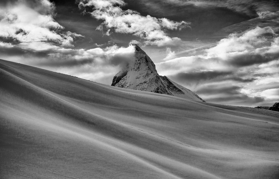 Matterhorn by Tom Bartel at http://travelpast50.com/matterhorn-black-white-zermatt-switzerland/