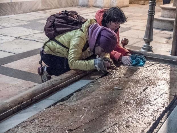pilgrims unguent stone church holy sepulchre jerusalem