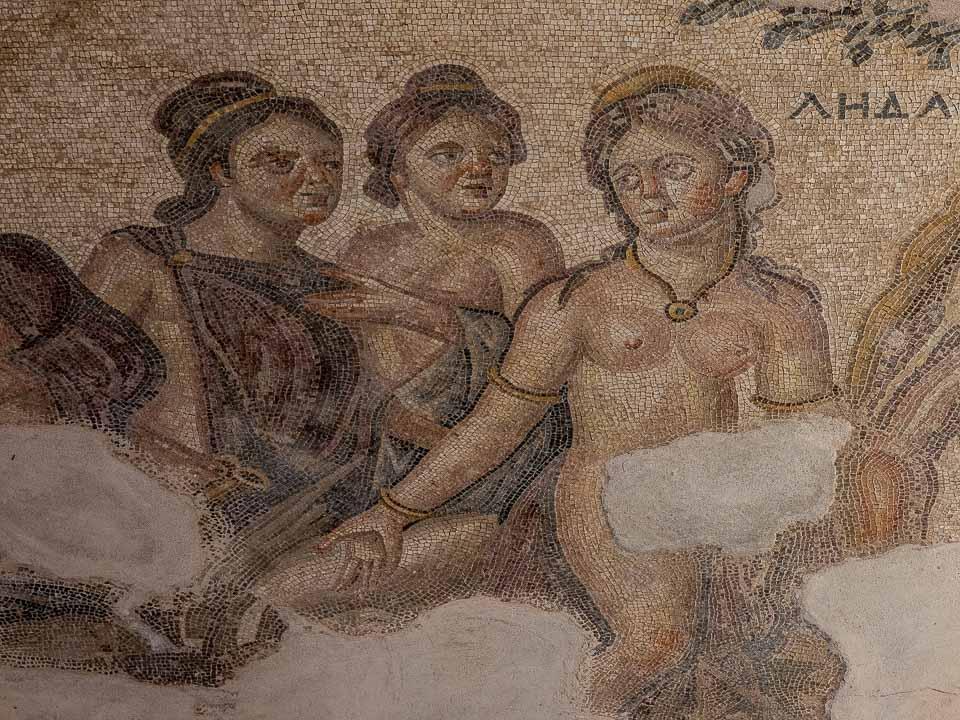 leda mosaic house of aion paphos cyprus