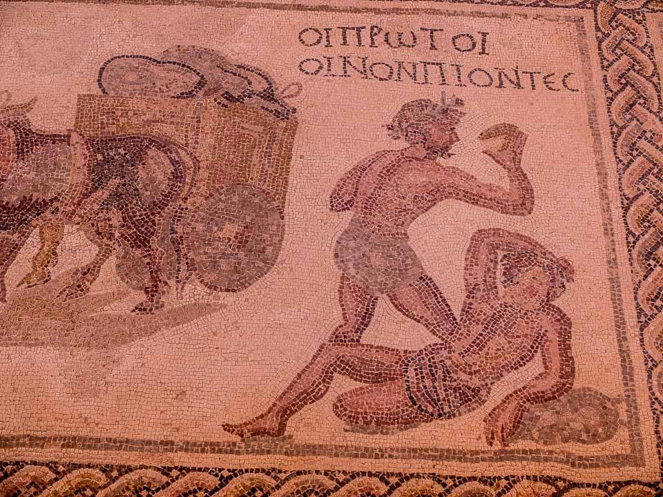 wine drinkers mosaic house of dionysius paphos cyprus