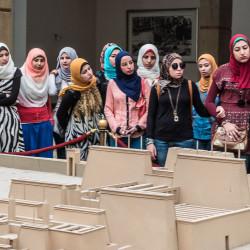 egyptian school girls karnak temple luxor egypt