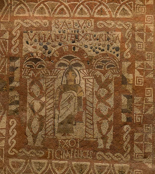 """The mosaic from the Vitali family's Roman villa in the Tossa Municipal Museum. The inscription says, """"While the Vitalis are well, Tossa is happy."""""""