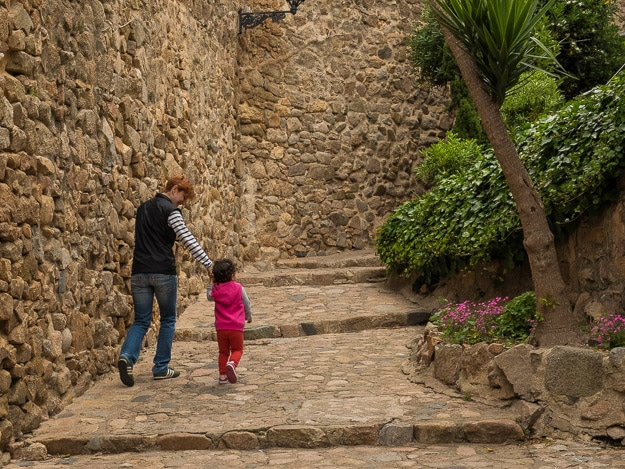 The stone streets wend their way around and through the 12th Century fortress walls.