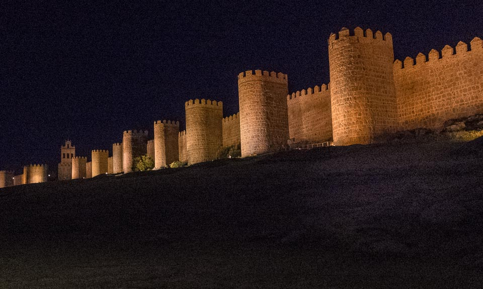 night walls of avila spain