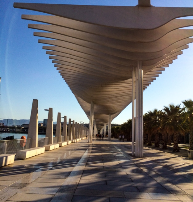 "Along Málaga's harbor flows ""El Palmeral of Surprises"" centerpiece of public space."
