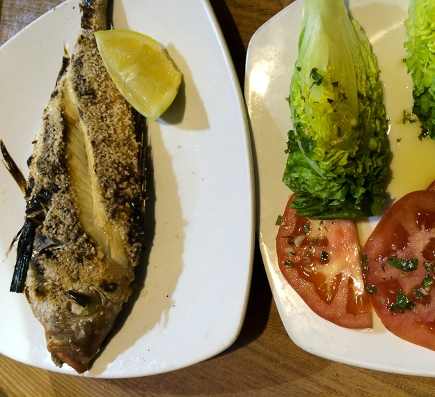 Following the local recommendation of fresh fish simply salted and grilled.