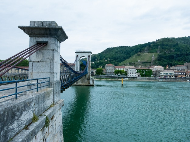 by Marc Sequin (1786-1875) father of wire and cable suspension bridges. This 1824 between Tournon and Tain L'Hermitage