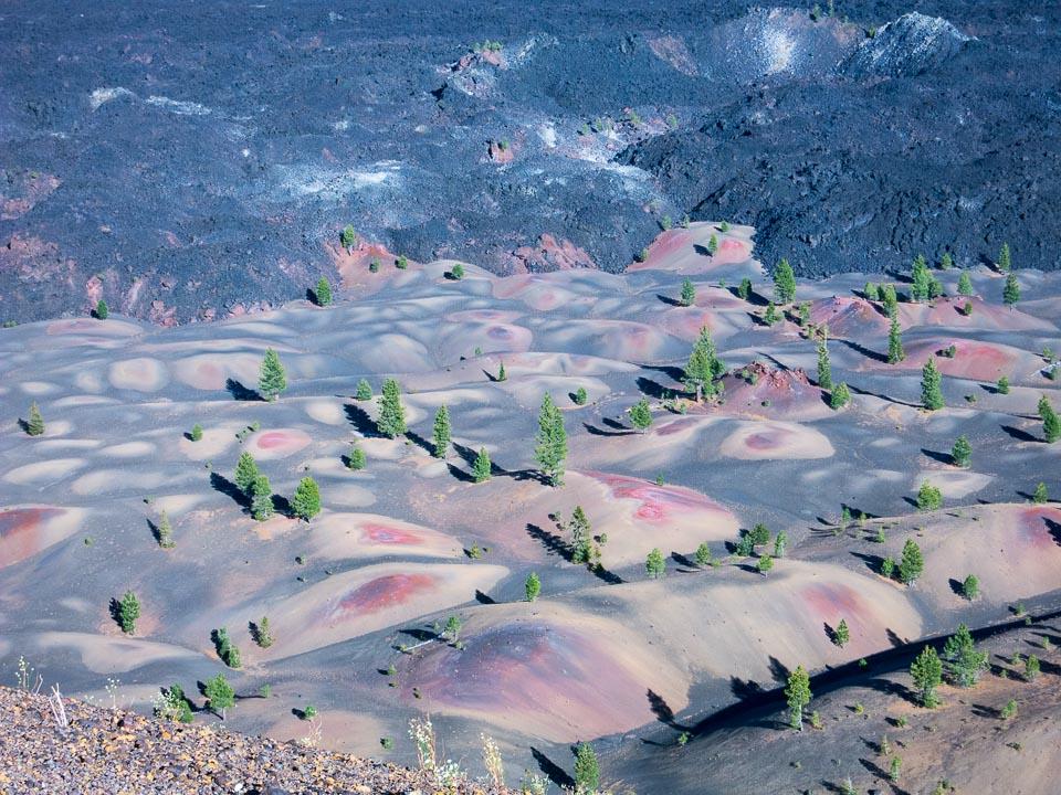 climbing Cinder Cone dunes below Lassen Volcanic NP