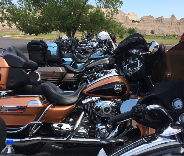 A line-up of Harley's at Cedar Pass Lodge in Badlands National Park, not far from the annual Sturgis Rally.