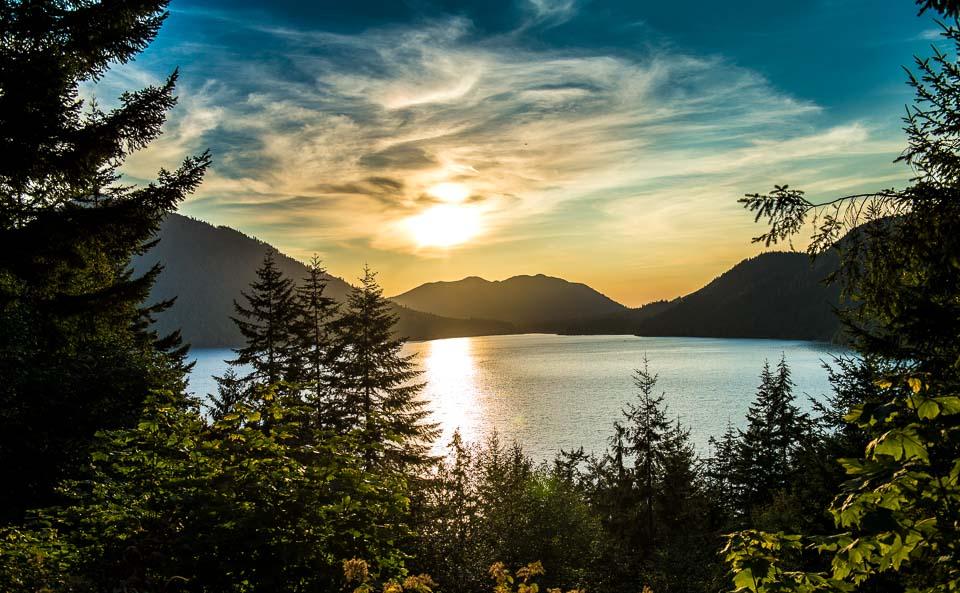 Sunset Crescent Lake Olympic National Park Washington