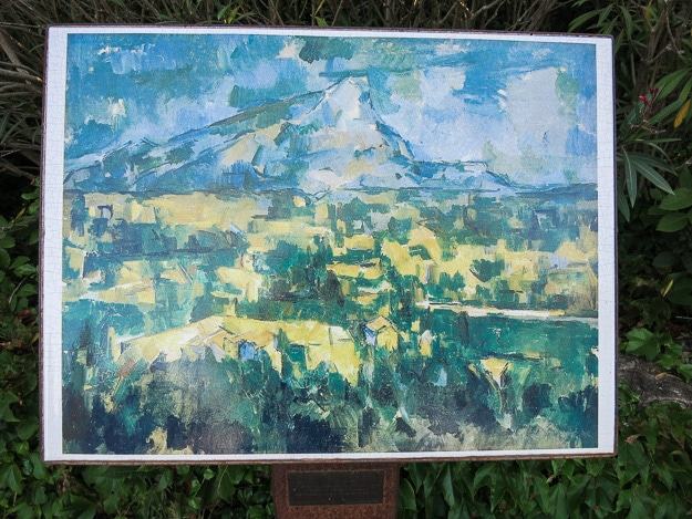 Reproductions of Cezanne's variations on this scene accompany the scenery itself