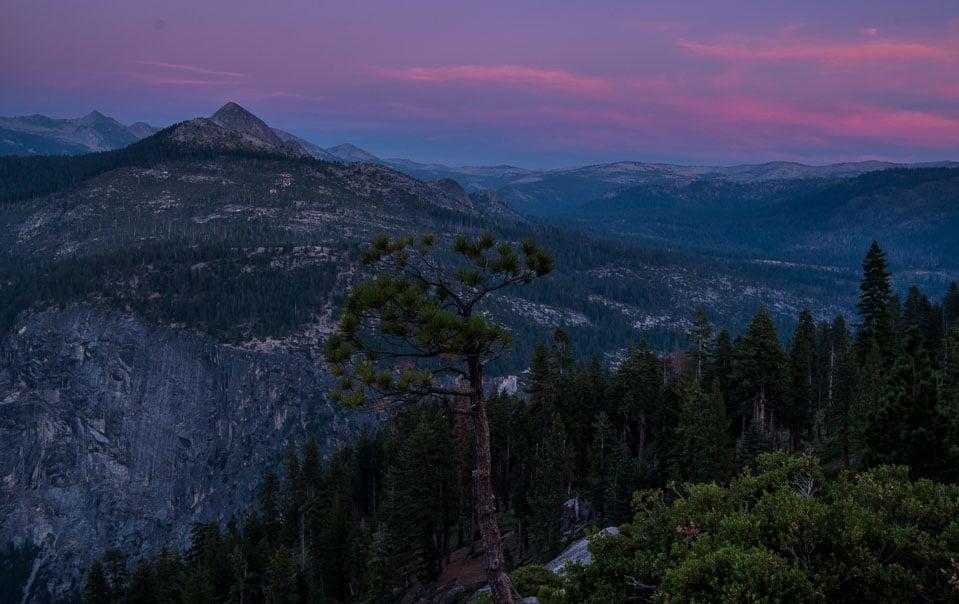 skyline sunset yosemite national park half dome