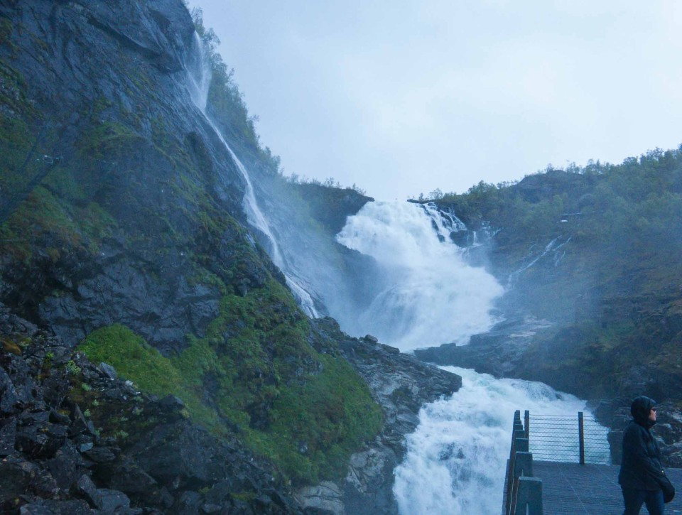 The Flåm train stops briefly so that passengers can get photos of the waterfall–if their cameras aren't soaked first.