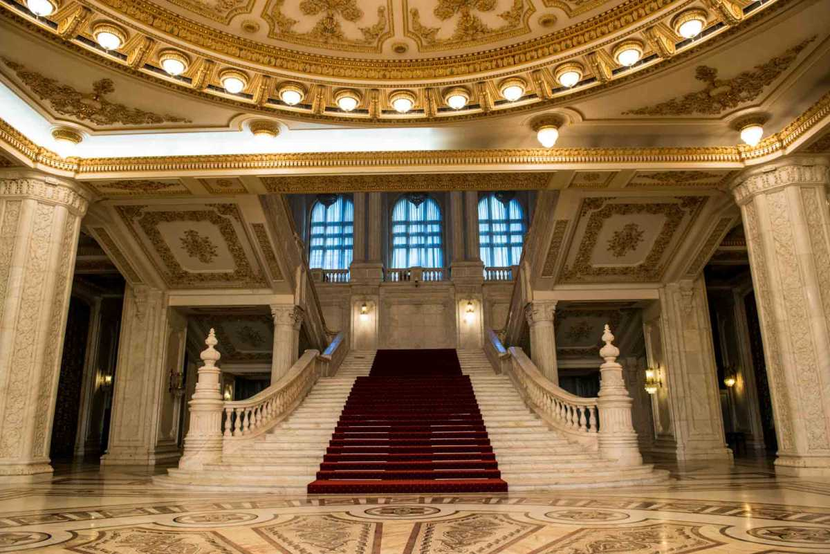 grand stairway 2 parliament palace bucharest romania