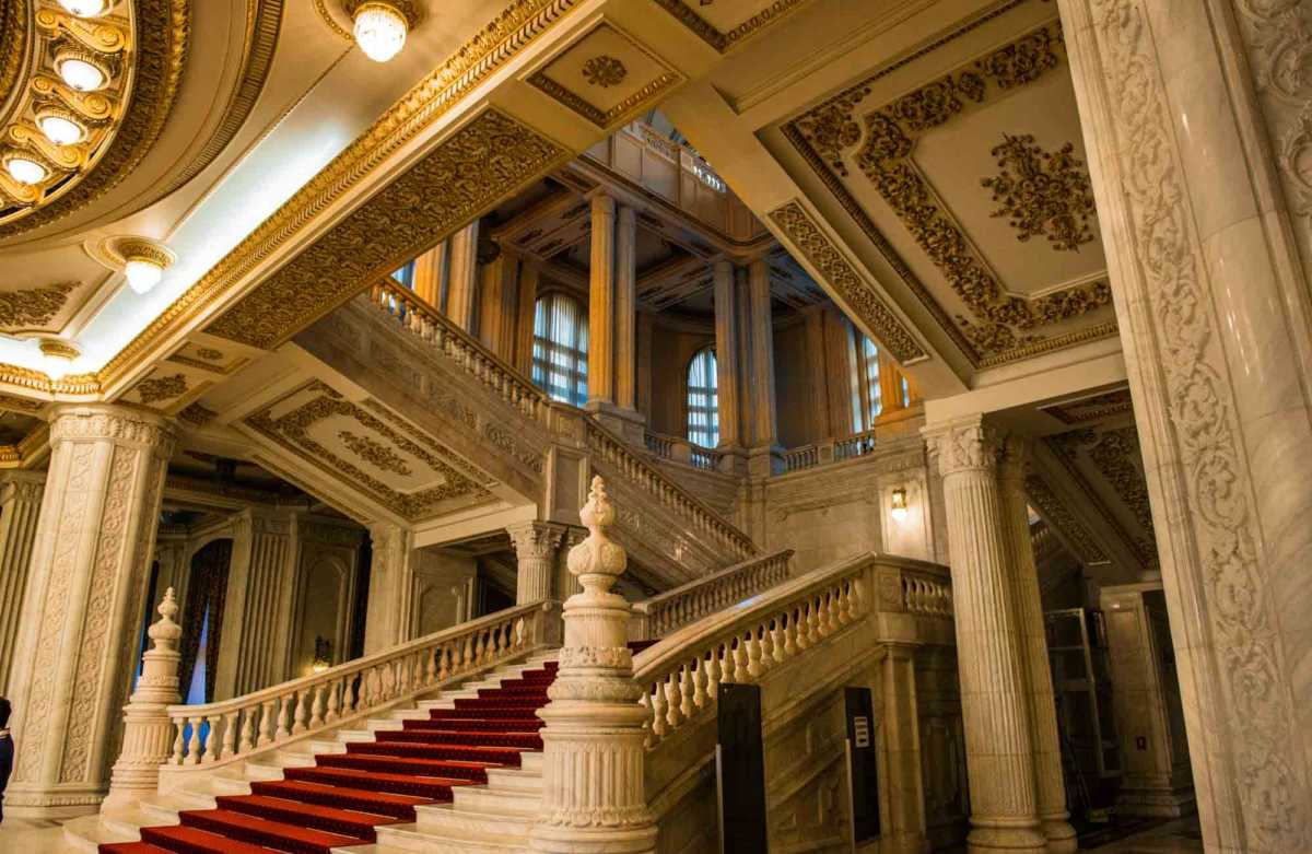 grand stairway parliament palace bucharest romania