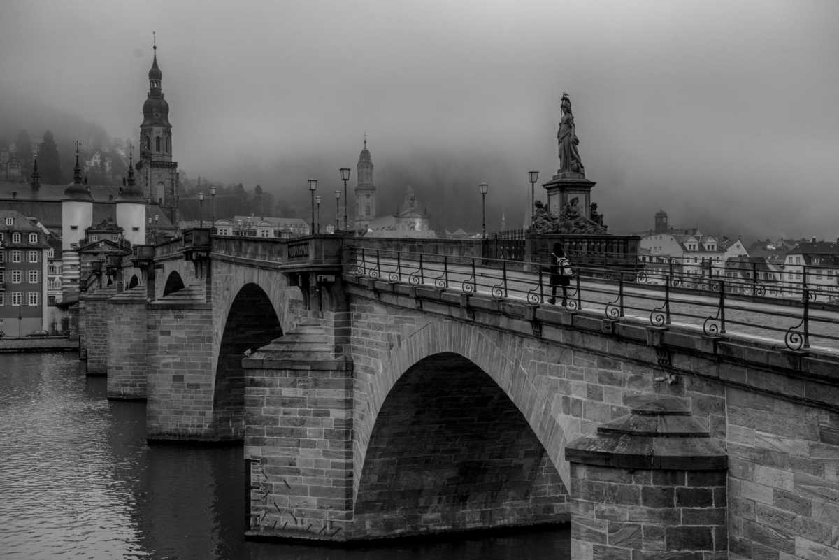 old bridge fog heidelberg germany
