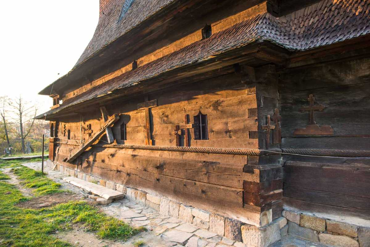 outside wall wooden church maramures surdesti romania