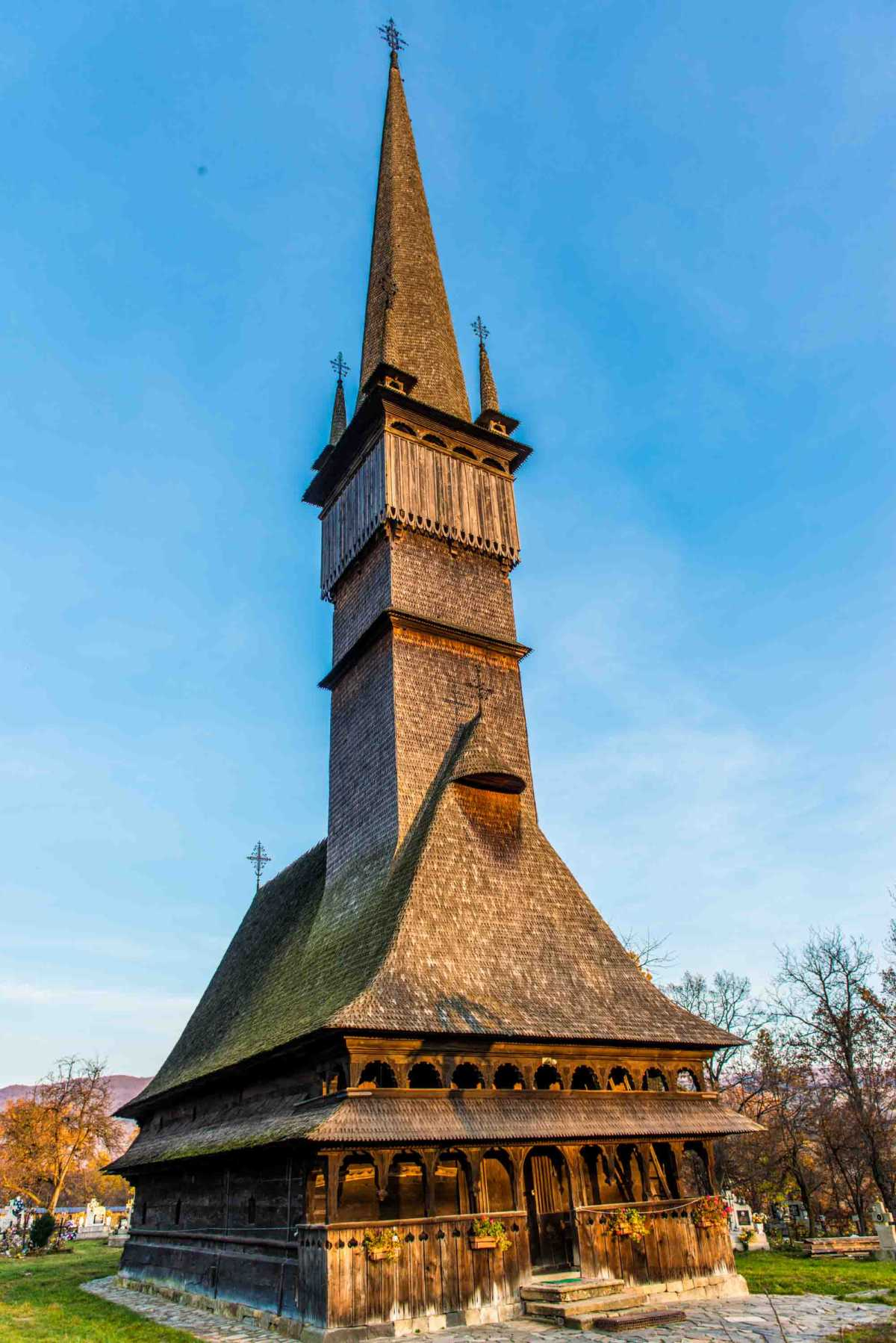 The wooden church at Surdesti, Romania.