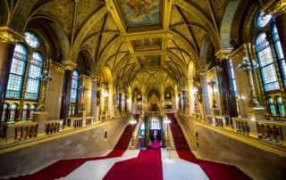 grand staircase Hungarian Parliament Budapest Hungary