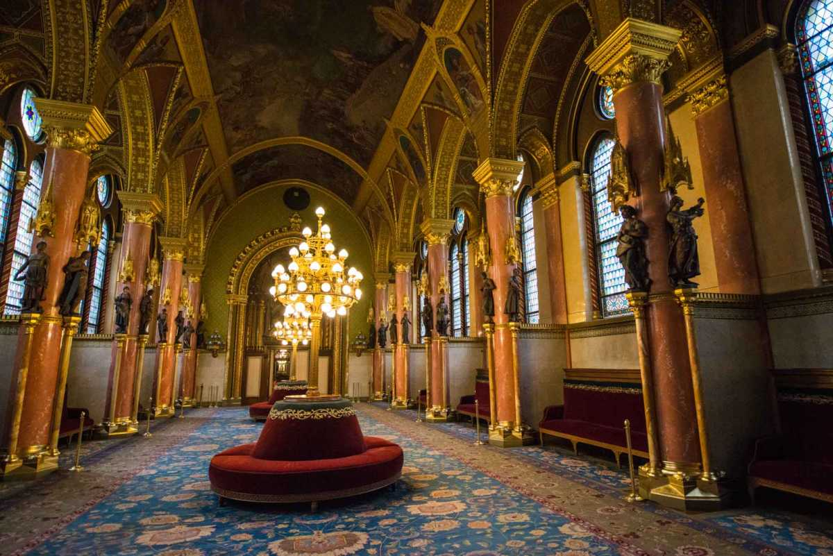 hallway Hungarian Parliament Budapest Hungary